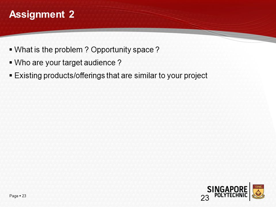 Page  23 Assignment 2  What is the problem . Opportunity space .