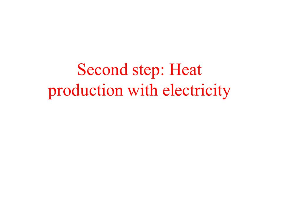 Second step: Heat production with electricity