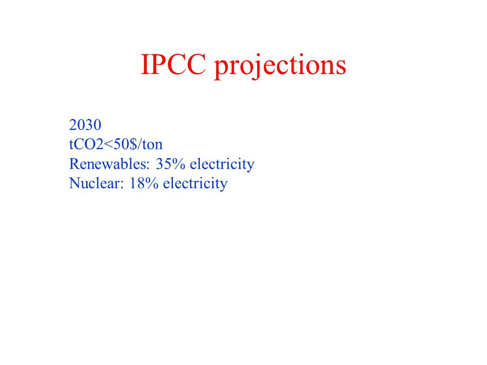 IPCC projections 2030 tCO2<50$/ton Renewables: 35% electricity Nuclear: 18% electricity