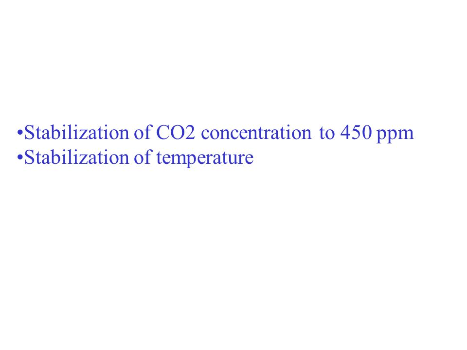 Stabilisation TStabilisation T Stabilization of CO2 concentration to 450 ppm Stabilization of temperature
