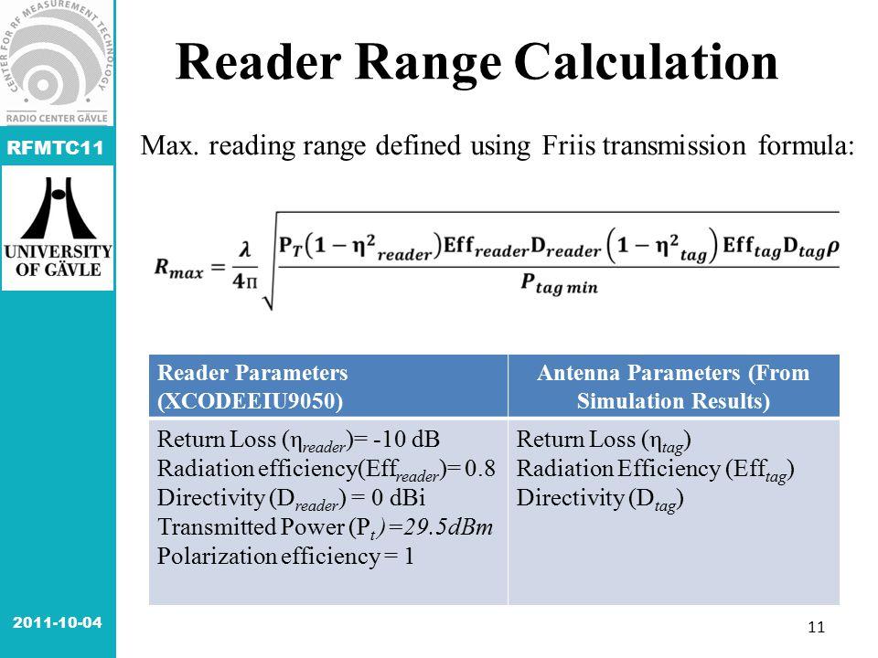 RFMTC11 Reader Range Calculation Reader Parameters (XCODEEIU9050) Antenna Parameters (From Simulation Results) Return Loss (η reader )= -10 dB Radiati
