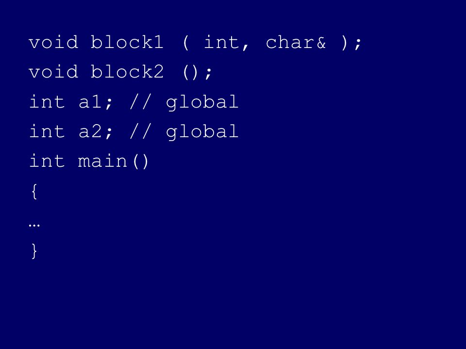 void block1 ( int, char& ); void block2 (); int a1; // global int a2; // global int main() { … }