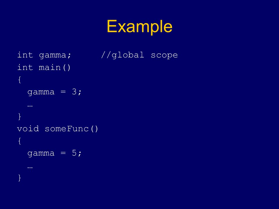 Example int gamma;//global scope int main() { gamma = 3; … } void someFunc() { gamma = 5; … }