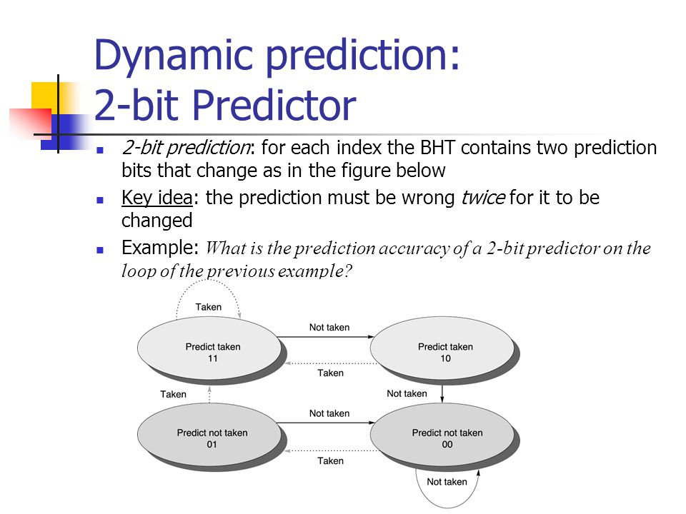 Dynamic prediction: 2-bit Predictor 2-bit prediction: for each index the BHT contains two prediction bits that change as in the figure below Key idea: the prediction must be wrong twice for it to be changed Example: What is the prediction accuracy of a 2-bit predictor on the loop of the previous example