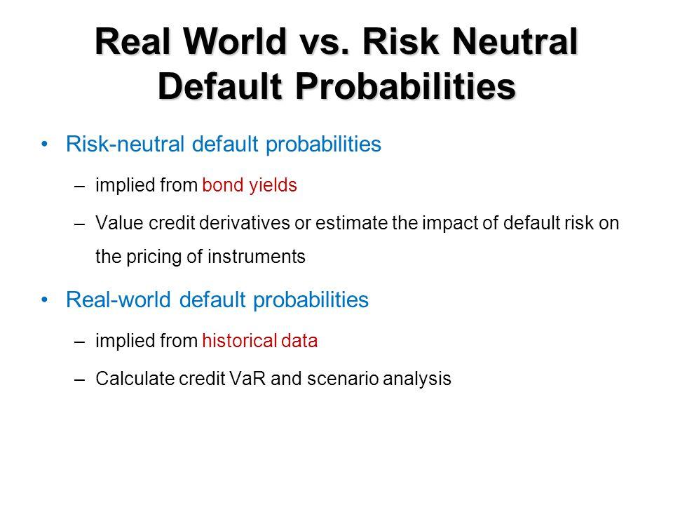 Real World vs. Risk Neutral Default Probabilities Risk-neutral default probabilities –implied from bond yields –Value credit derivatives or estimate t