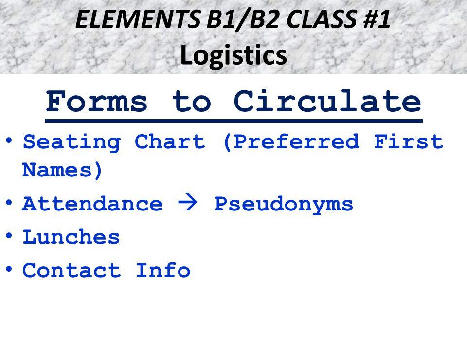 ELEMENTS B1/B2 CLASS #1 Logistics Dean's Fellow: Catherine Laughlin