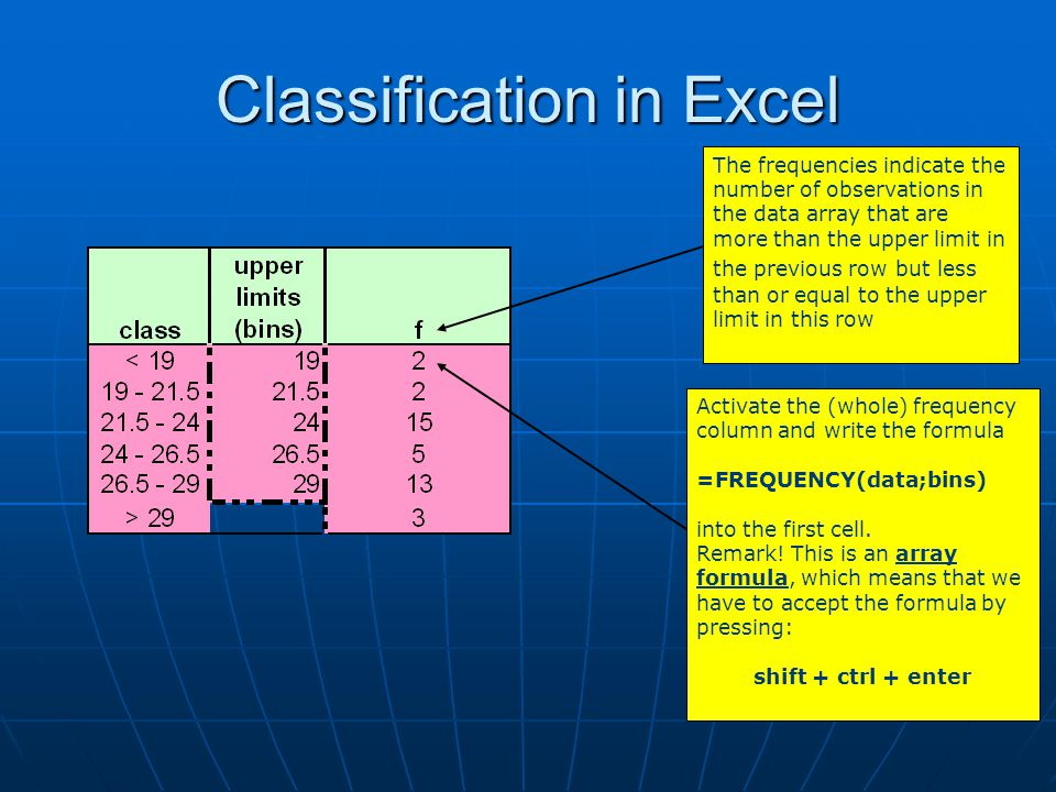 Classification in Excel The frequencies indicate the number of observations in the data array that are more than the upper limit in the previous row b