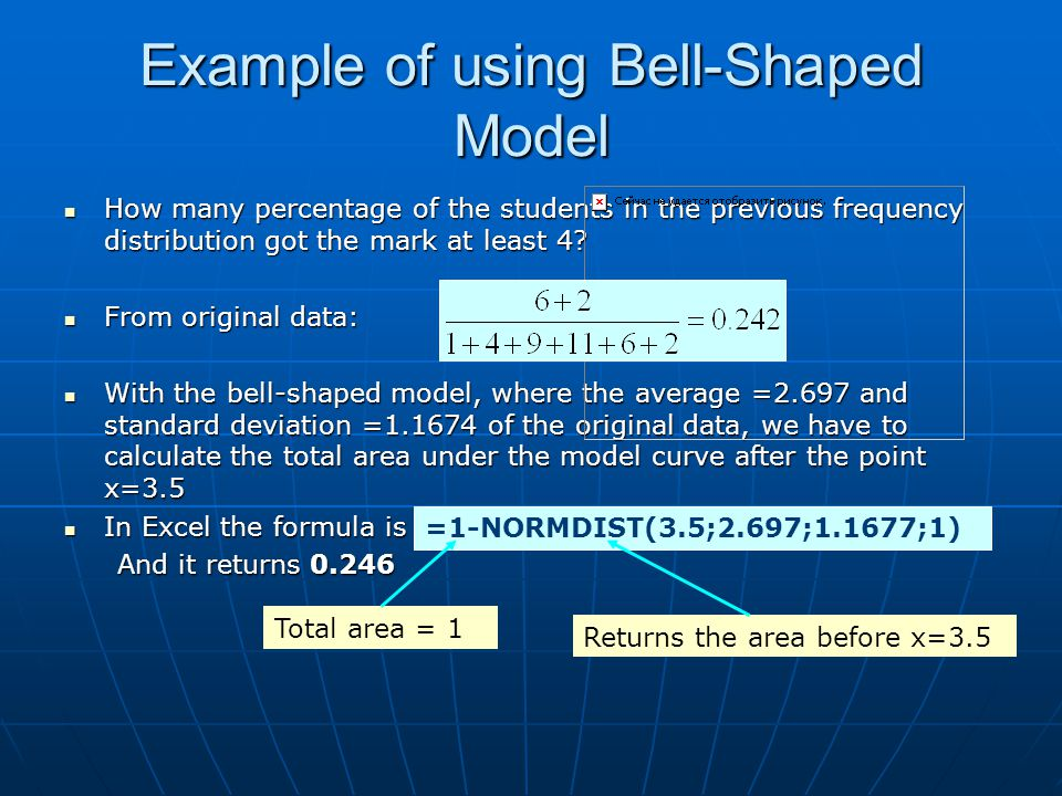 Example of using Bell-Shaped Model How many percentage of the students in the previous frequency distribution got the mark at least 4? How many percen