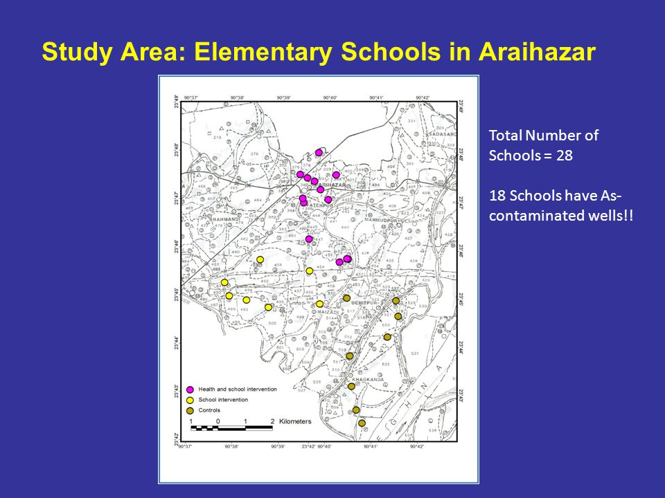 Study Area: Elementary Schools in Araihazar Total Number of Schools = 28 18 Schools have As- contaminated wells!!