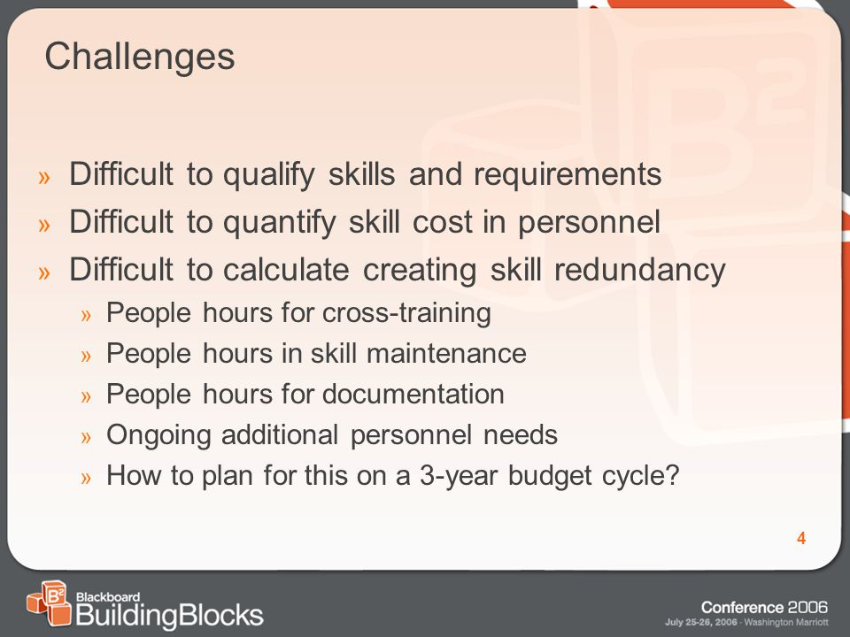 4 Challenges » Difficult to qualify skills and requirements » Difficult to quantify skill cost in personnel » Difficult to calculate creating skill redundancy » People hours for cross-training » People hours in skill maintenance » People hours for documentation » Ongoing additional personnel needs » How to plan for this on a 3-year budget cycle