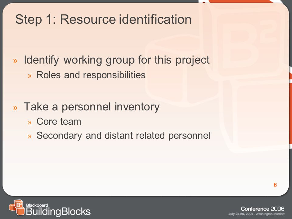 6 Step 1: Resource identification » Identify working group for this project » Roles and responsibilities » Take a personnel inventory » Core team » Secondary and distant related personnel