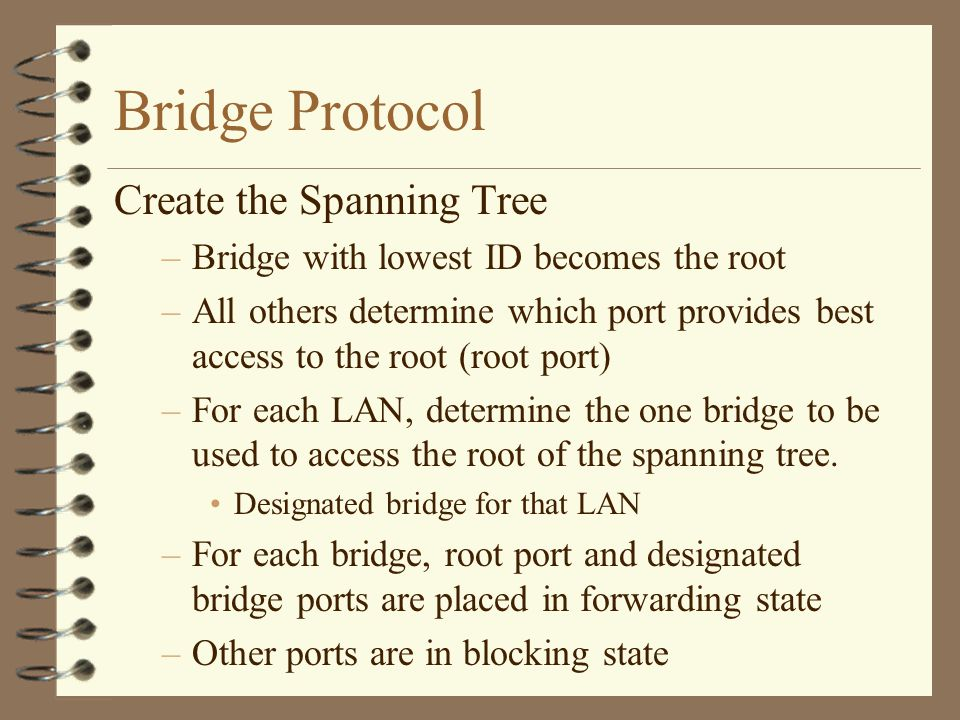 Bridge Protocol Create the Spanning Tree –Bridge with lowest ID becomes the root –All others determine which port provides best access to the root (root port) –For each LAN, determine the one bridge to be used to access the root of the spanning tree.