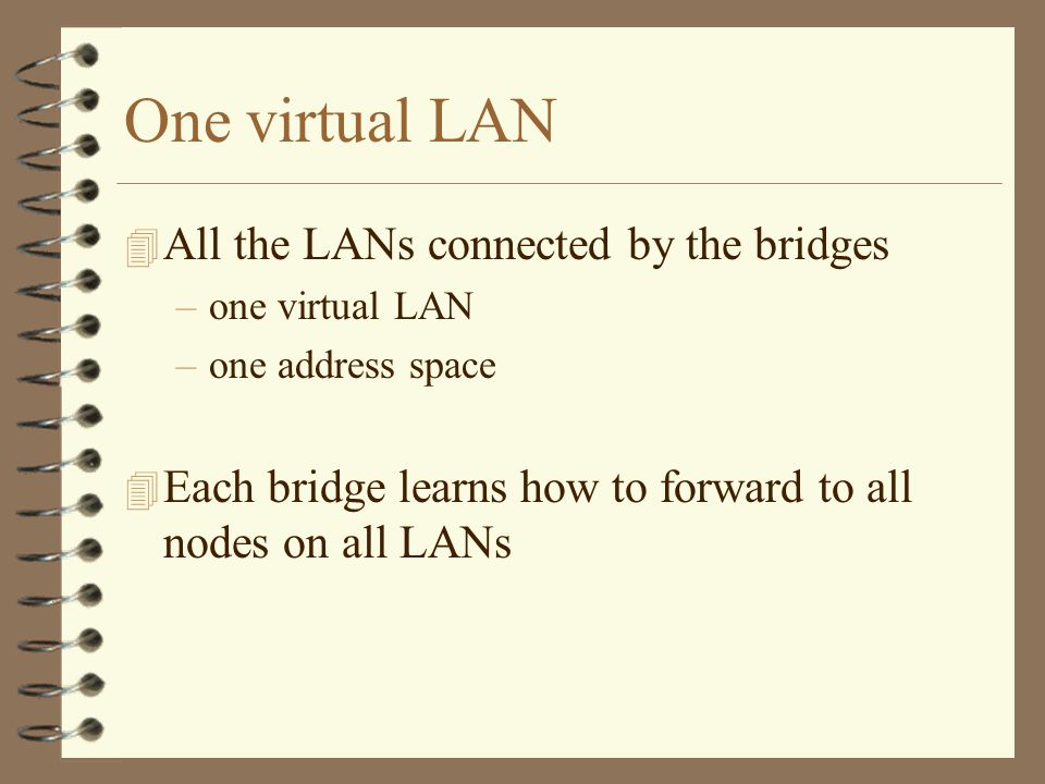 One virtual LAN 4 All the LANs connected by the bridges –one virtual LAN –one address space 4 Each bridge learns how to forward to all nodes on all LANs