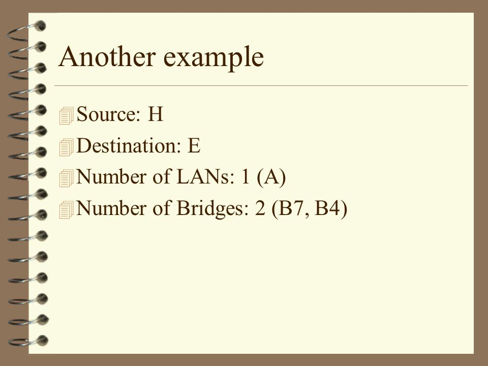 Another example 4 Source: H 4 Destination: E 4 Number of LANs: 1 (A) 4 Number of Bridges: 2 (B7, B4)