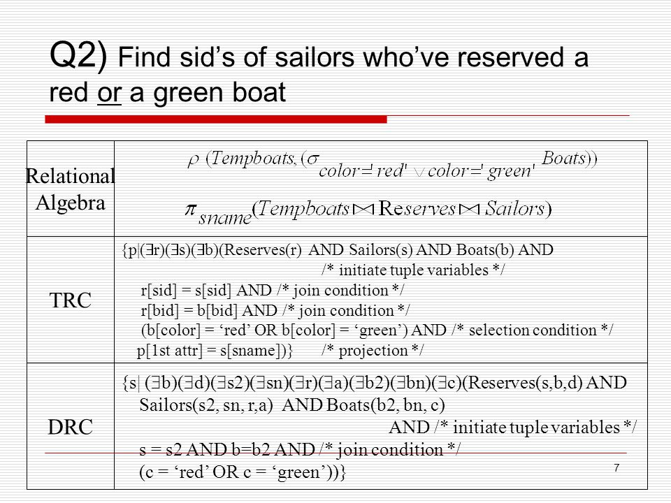 7 Q2) Find sid's of sailors who've reserved a red or a green boat {p|(  r)(  s)(  b)(Reserves(r) AND Sailors(s) AND Boats(b) AND /* initiate tuple variables */ r[sid] = s[sid] AND /* join condition */ r[bid] = b[bid] AND /* join condition */ (b[color] = 'red' OR b[color] = 'green') AND /* selection condition */ p[1st attr] = s[sname])}/* projection */ {s| (  b)(  d)(  s2)(  sn)(  r)(  a)(  b2)(  bn)(  c)(Reserves(s,b,d) AND Sailors(s2, sn, r,a) AND Boats(b2, bn, c) AND /* initiate tuple variables */ s = s2 AND b=b2 AND /* join condition */ (c = 'red' OR c = 'green'))} Relational Algebra TRC DRC