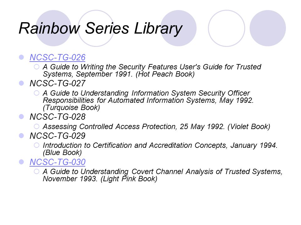 Rainbow Series Library NCSC-TG-026  A Guide to Writing the Security Features User s Guide for Trusted Systems, September 1991.