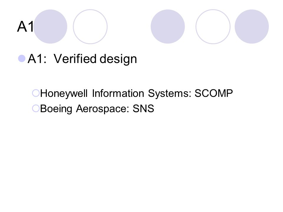 A1 A1: Verified design  Honeywell Information Systems: SCOMP  Boeing Aerospace: SNS