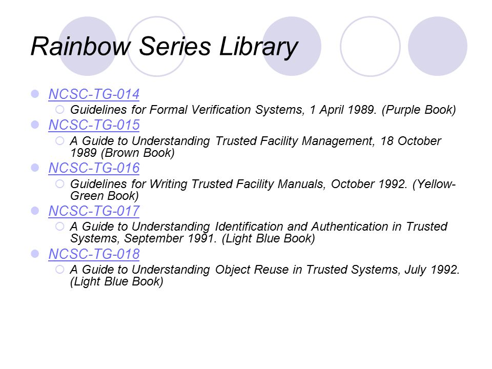 Rainbow Series Library NCSC-TG-014  Guidelines for Formal Verification Systems, 1 April 1989.