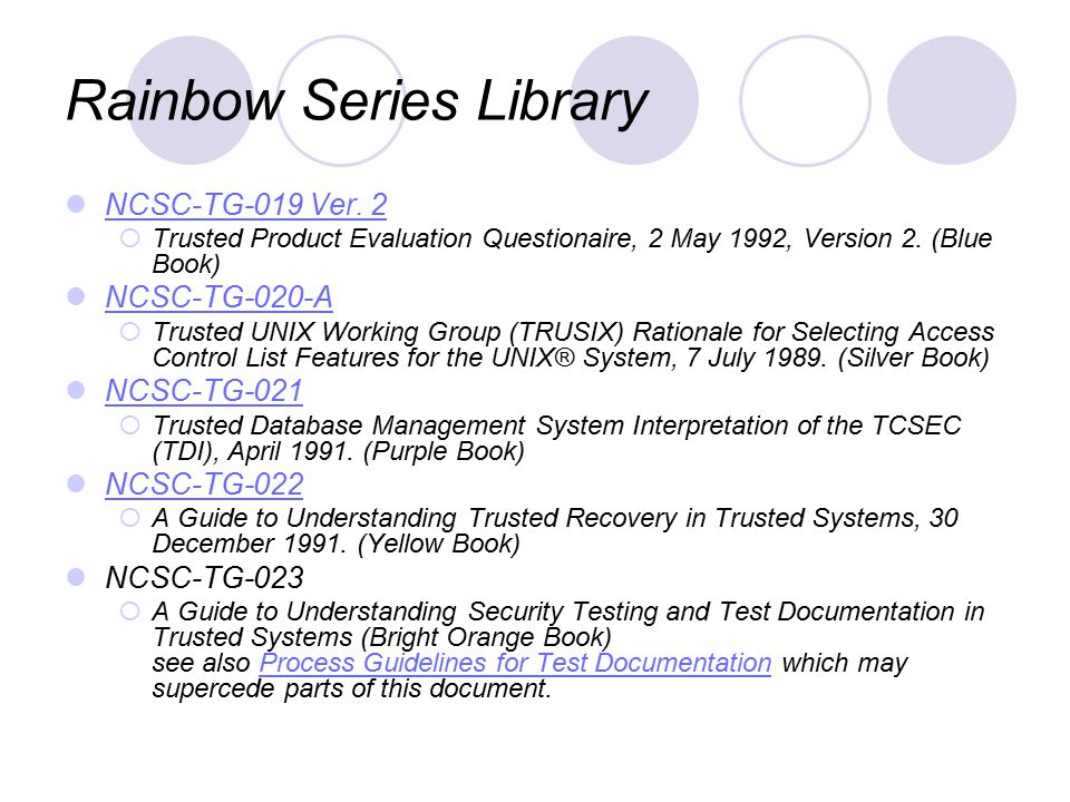 Rainbow Series Library NCSC-TG-019 Ver.