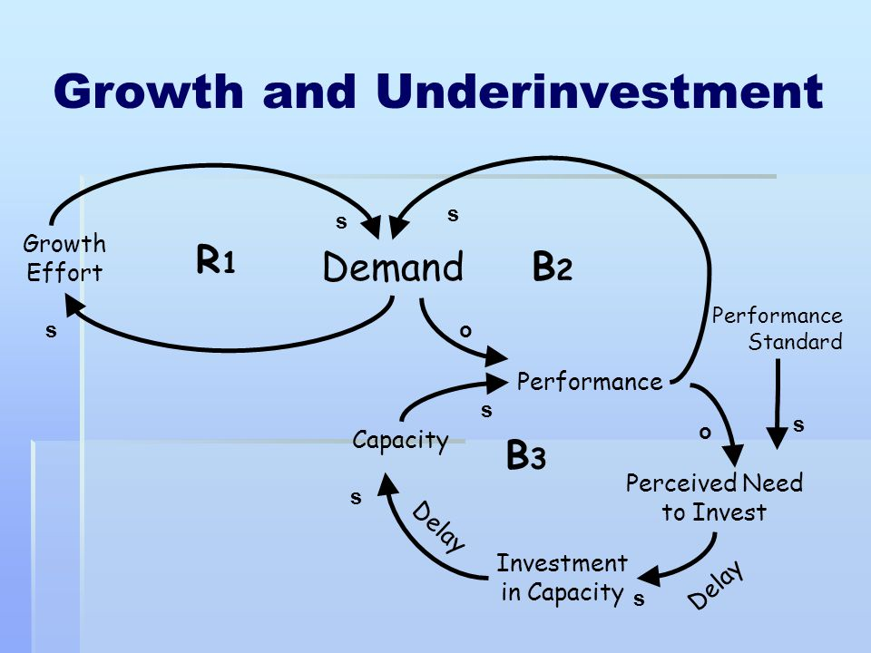 Growth and Underinvestment B3B3 B2B2 s s s so s s s R1R1 Demand Performance Growth Effort Performance Standard Perceived Need to Invest Investment in