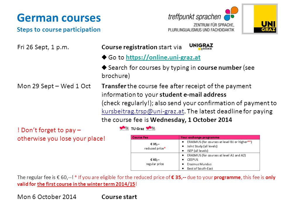 German courses Steps to course participation Fri 26 Sept, 1 p.m.