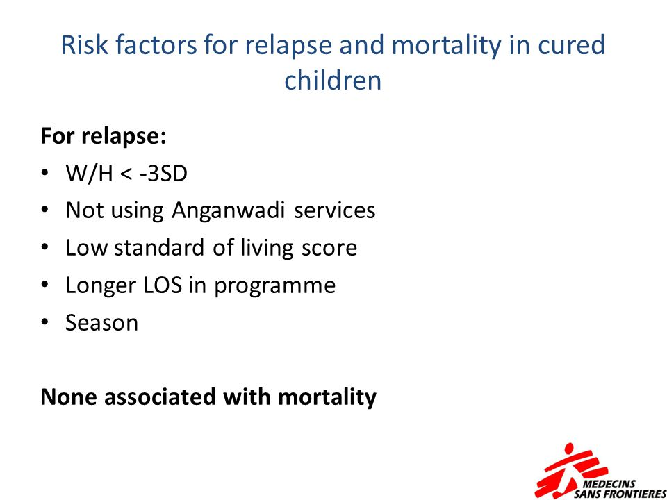 Risk factors for relapse and mortality in cured children For relapse: W/H < -3SD Not using Anganwadi services Low standard of living score Longer LOS