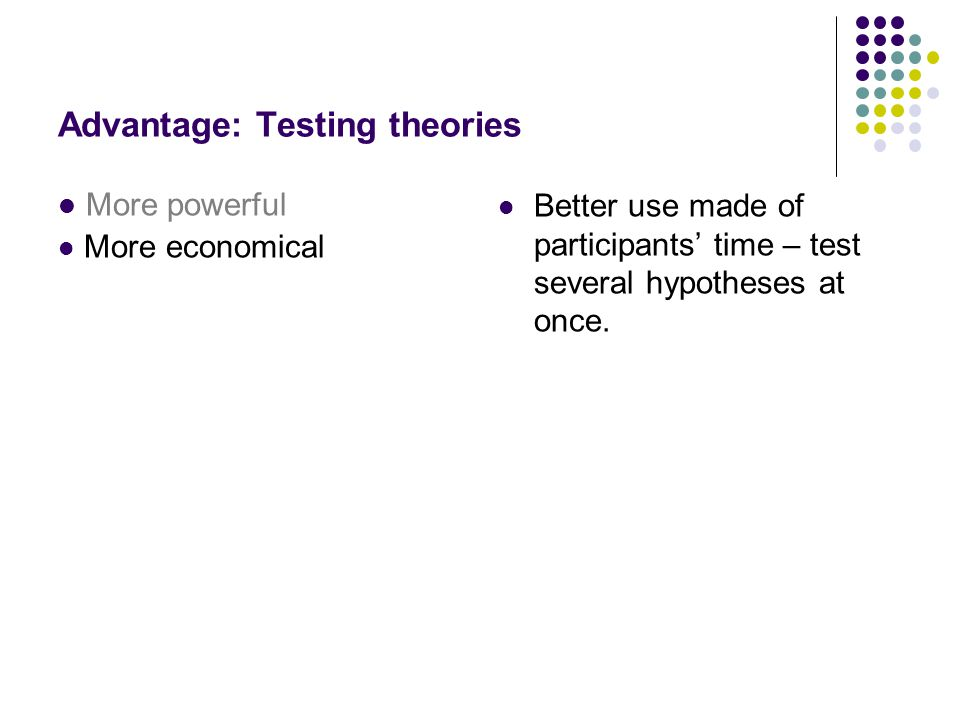 Advantage: Testing theories More powerful More economical Better use made of participants' time – test several hypotheses at once.