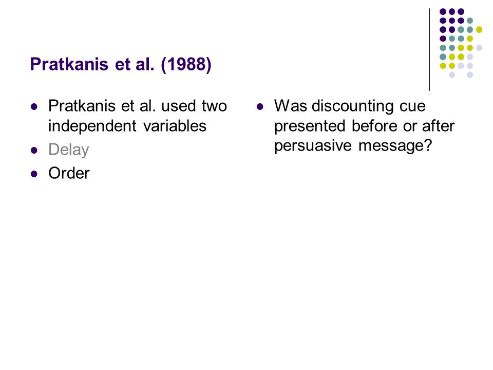 Pratkanis et al. (1988) Pratkanis et al. used two independent variables Delay Order Was discounting cue presented before or after persuasive message?