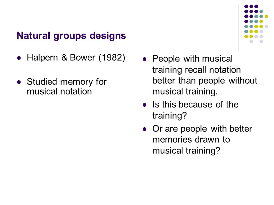 Natural groups designs Halpern & Bower (1982) Studied memory for musical notation People with musical training recall notation better than people without musical training.