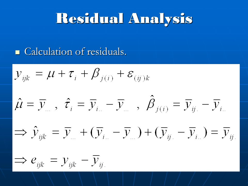 Residual Analysis Calculation of residuals. Calculation of residuals.