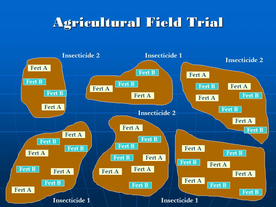 Agricultural Field Trial Fert B Fert A Fert B Insecticide 2 Insecticide 1
