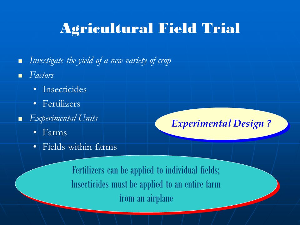 Fertilizers can be applied to individual fields; Insecticides must be applied to an entire farm from an airplane Fertilizers can be applied to individual fields; Insecticides must be applied to an entire farm from an airplane Agricultural Field Trial Investigate the yield of a new variety of crop Factors Insecticides Fertilizers Experimental Units Farms Fields within farms Experimental Design ?