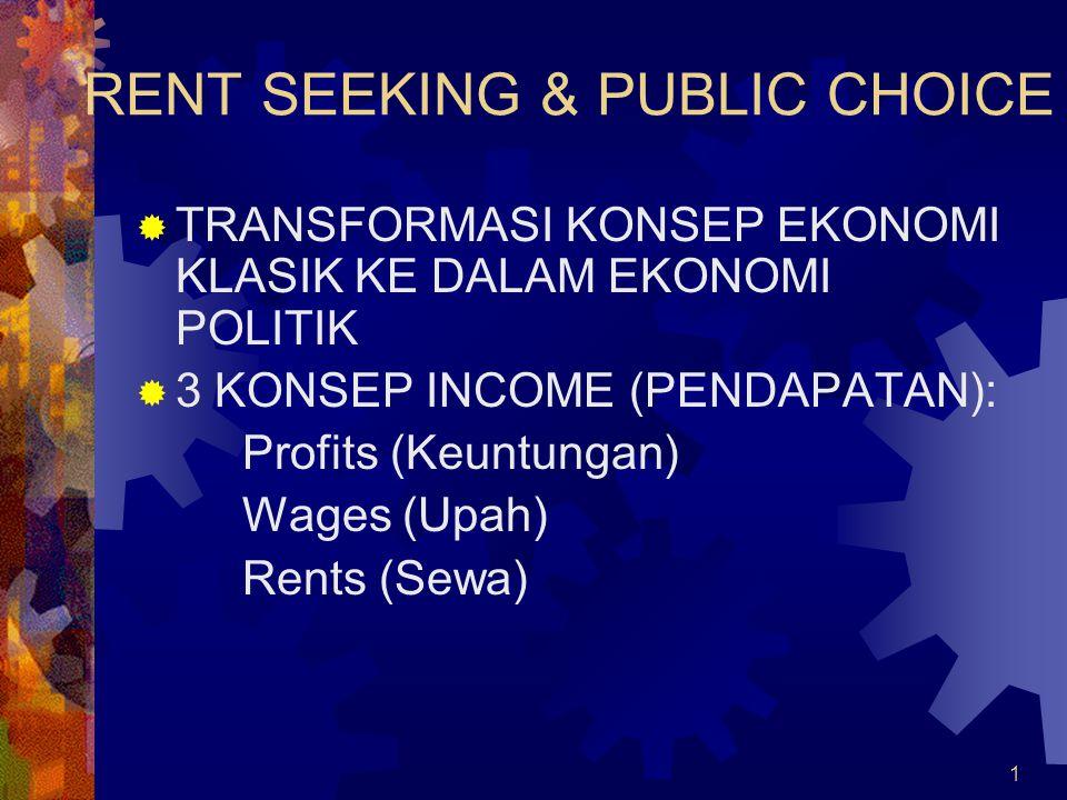1 RENT SEEKING & PUBLIC CHOICE  TRANSFORMASI KONSEP EKONOMI KLASIK KE DALAM EKONOMI POLITIK  3 KONSEP INCOME (PENDAPATAN): Profits (Keuntungan) Wages (Upah) Rents (Sewa)