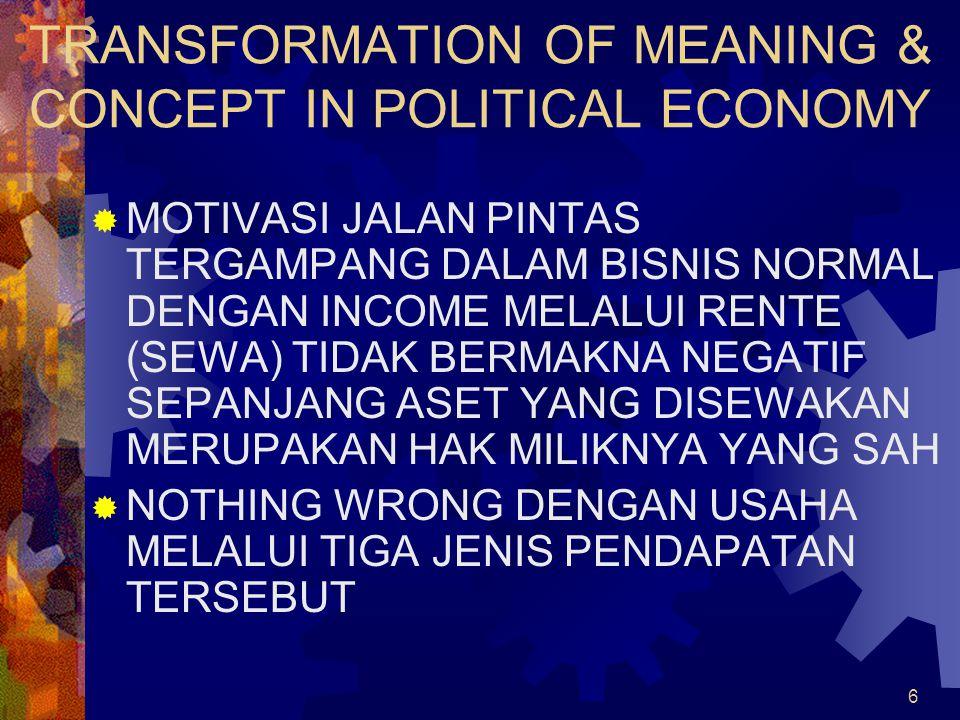 6 TRANSFORMATION OF MEANING & CONCEPT IN POLITICAL ECONOMY  MOTIVASI JALAN PINTAS TERGAMPANG DALAM BISNIS NORMAL DENGAN INCOME MELALUI RENTE (SEWA) TIDAK BERMAKNA NEGATIF SEPANJANG ASET YANG DISEWAKAN MERUPAKAN HAK MILIKNYA YANG SAH  NOTHING WRONG DENGAN USAHA MELALUI TIGA JENIS PENDAPATAN TERSEBUT