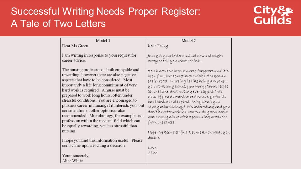 Successful Writing Needs Proper Register: A Tale of Two Letters