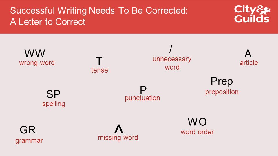 Successful Writing Needs To Be Corrected: A Letter to Correct T SP ^ GR / Prep WO WW P wrong word spelling grammar tense punctuation missing word unnecessary word preposition word order A article