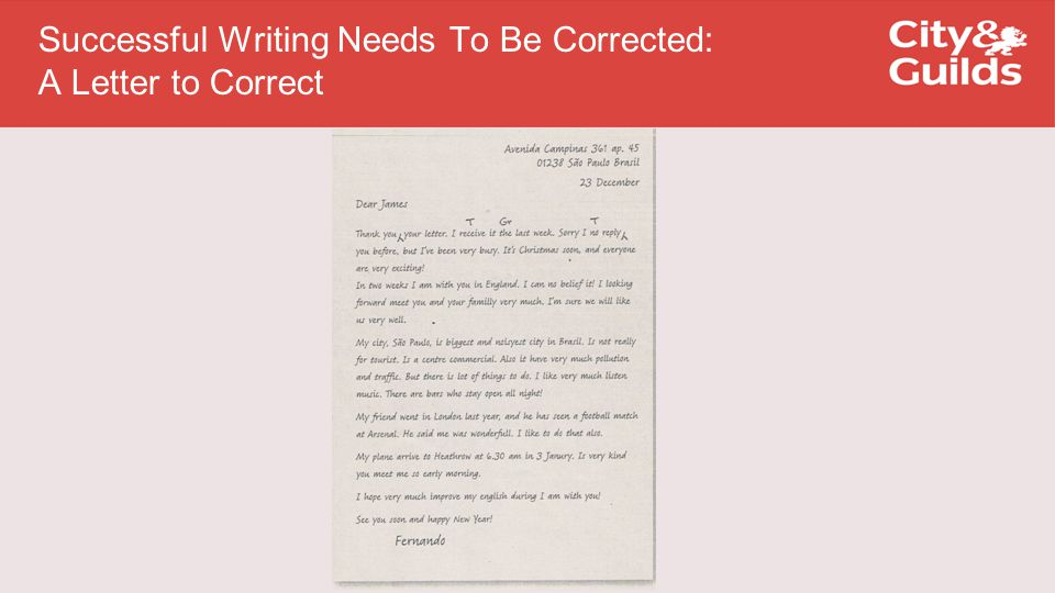 Successful Writing Needs To Be Corrected: A Letter to Correct