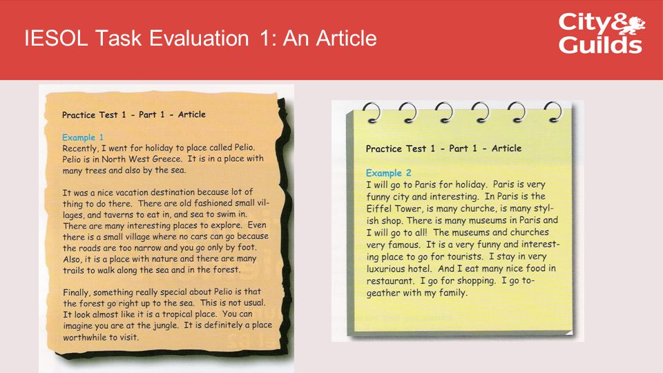 IESOL Task Evaluation 1: An Article