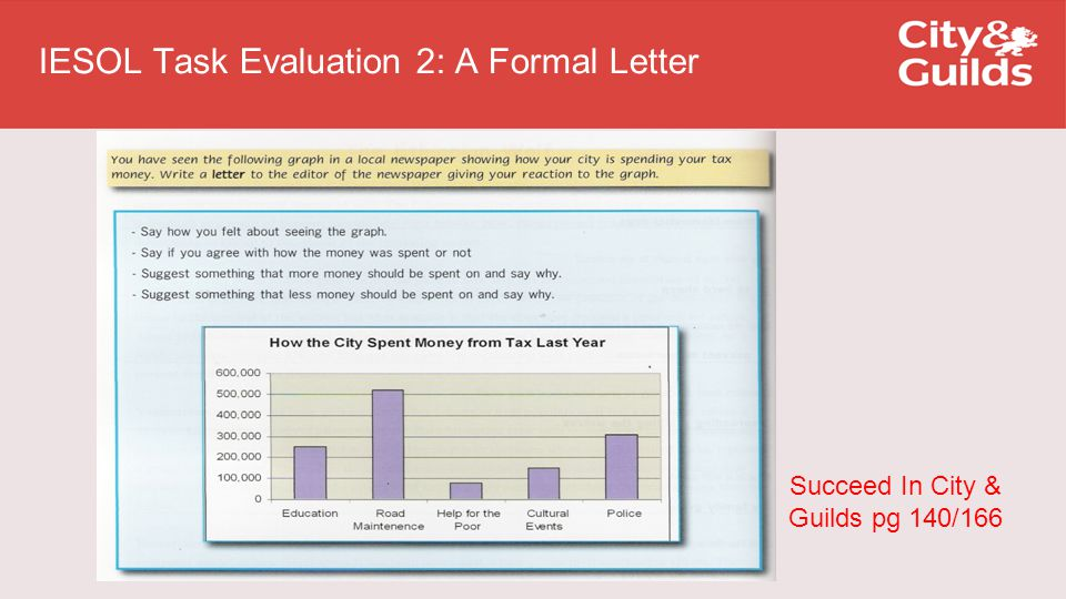 IESOL Task Evaluation 2: A Formal Letter Succeed In City & Guilds pg 140/166