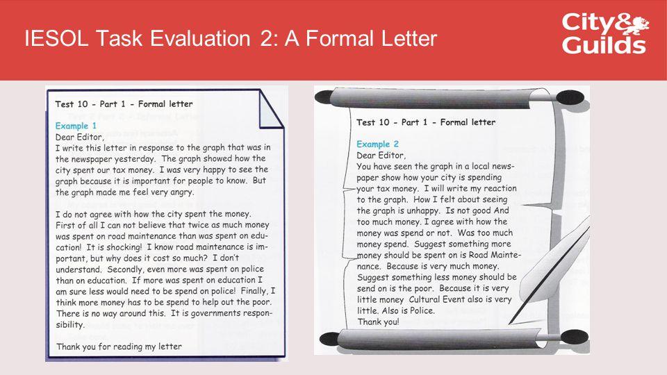 IESOL Task Evaluation 2: A Formal Letter