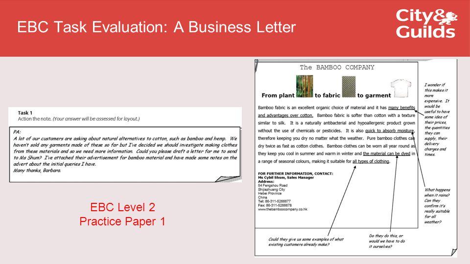EBC Level 2 Practice Paper 1