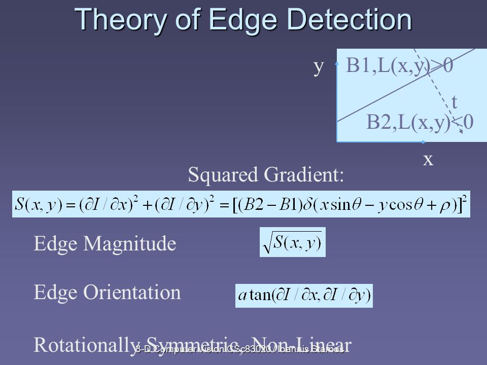 3-D Computer Vision CSc83020 / Ioannis Stamos Theory of Edge Detection x yB1,L(x,y)>0 B2,L(x,y)<0 t Rotationally Symmetric, Non-Linear Edge Magnitude Edge Orientation Squared Gradient: