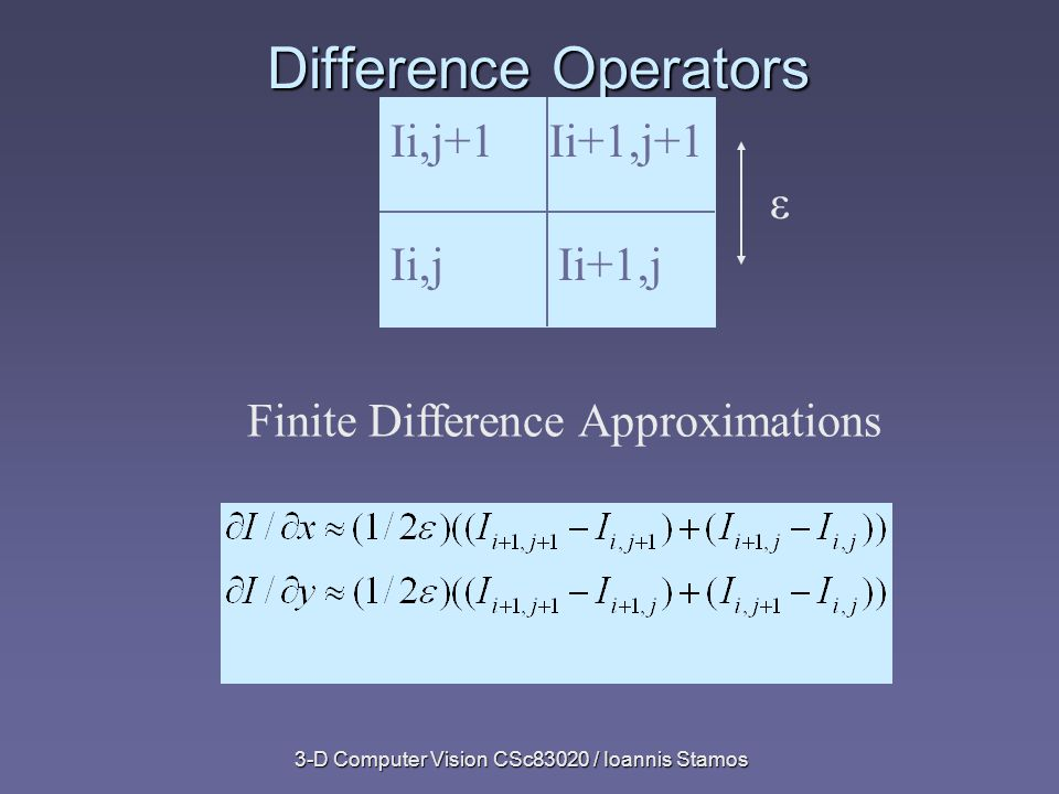 3-D Computer Vision CSc83020 / Ioannis Stamos Difference Operators Ii,j+1Ii+1,j+1 Ii,jIi+1,j ε Finite Difference Approximations