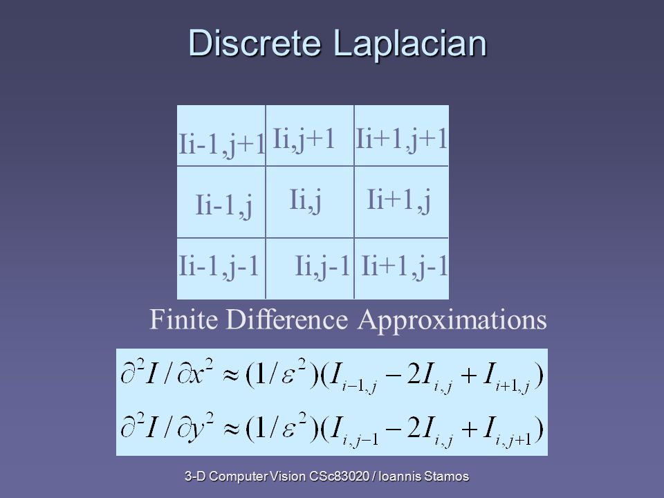 3-D Computer Vision CSc83020 / Ioannis Stamos Discrete Laplacian Ii,j+1Ii+1, j+1 Ii,jIi+1,j Finite Difference Approximations Ii+1,j-1Ii,j-1Ii-1,j-1 Ii-1,j Ii-1,j+1
