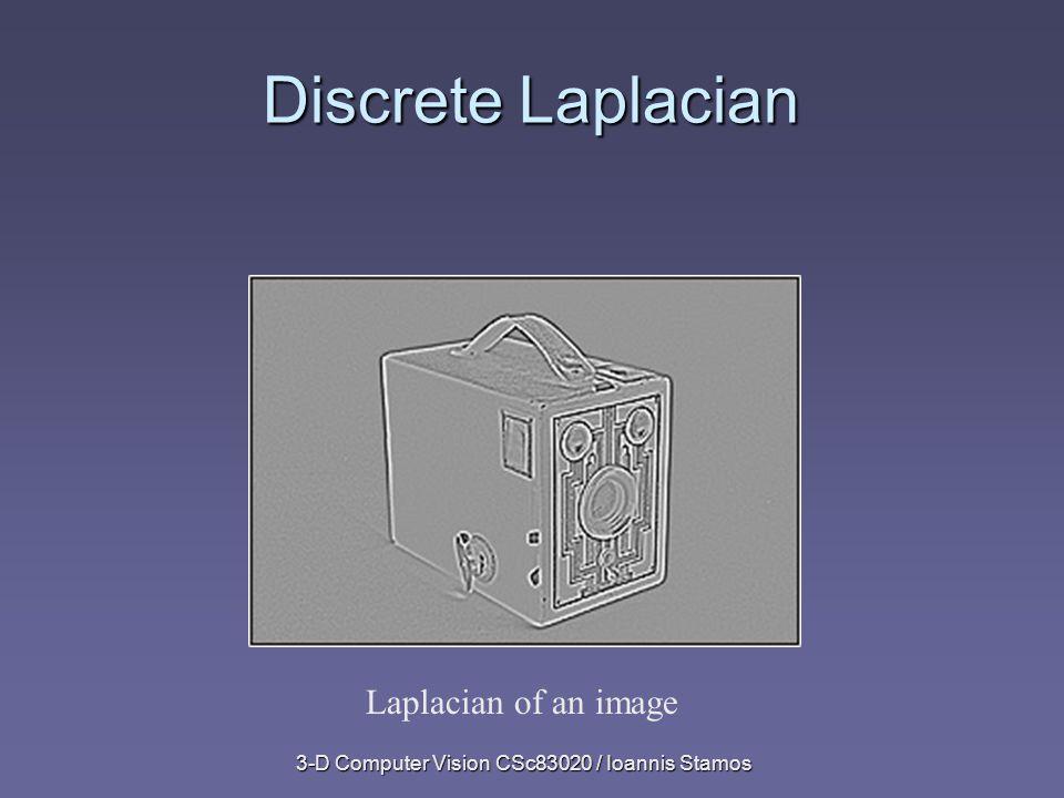 3-D Computer Vision CSc83020 / Ioannis Stamos Discrete Laplacian Laplacian of an image