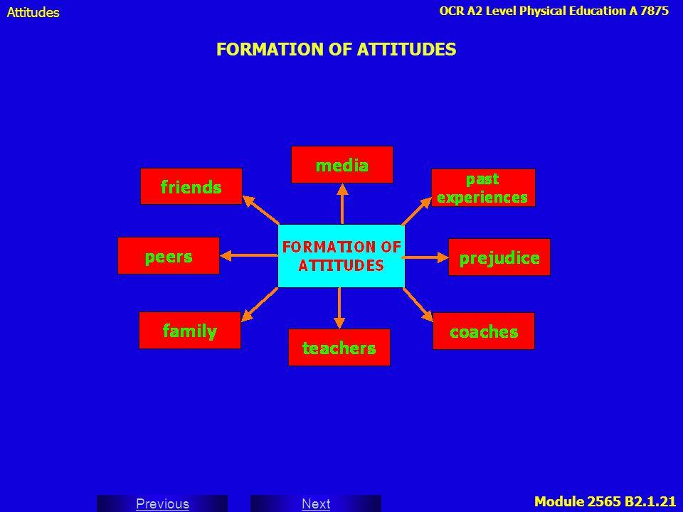 OCR A2 Level Physical Education A 7875 Next Previous Module 2565 B2.1.21 FORMATION OF ATTITUDES Attitudes