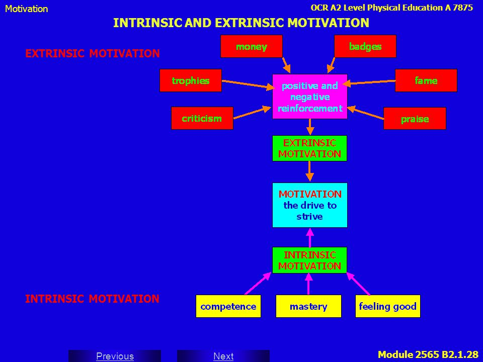 OCR A2 Level Physical Education A 7875 Next Previous Module 2565 B2.1.28 INTRINSIC AND EXTRINSIC MOTIVATION EXTRINSIC MOTIVATION Motivation INTRINSIC