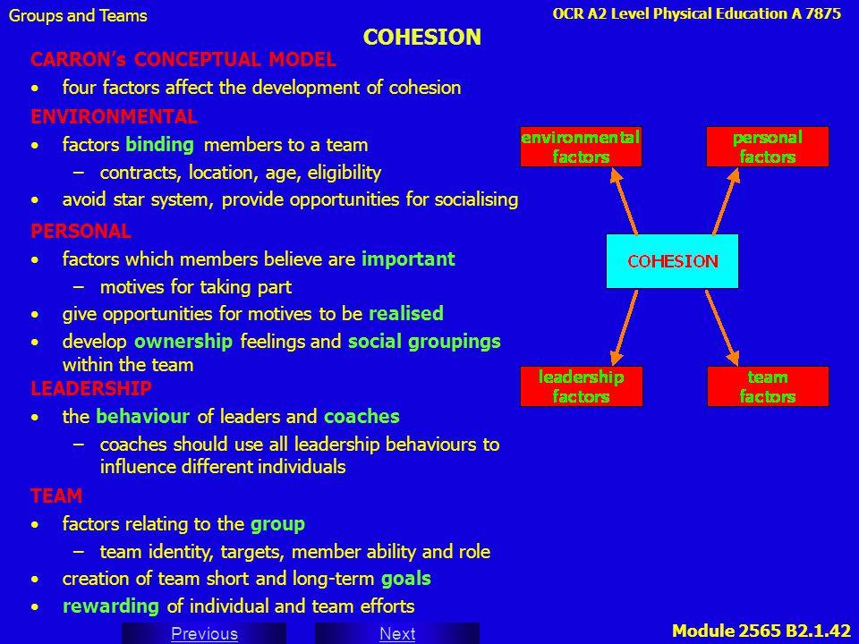 OCR A2 Level Physical Education A 7875 Next Previous Module 2565 B2.1.42 COHESION CARRON's CONCEPTUAL MODEL four factors affect the development of coh