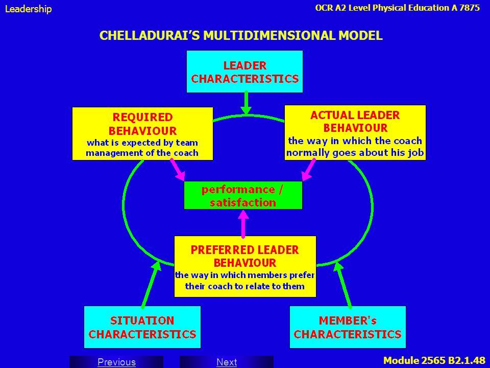 OCR A2 Level Physical Education A 7875 Next Previous Module 2565 B2.1.48 CHELLADURAI'S MULTIDIMENSIONAL MODEL Leadership