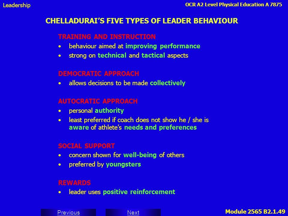 OCR A2 Level Physical Education A 7875 Next Previous Module 2565 B2.1.49 CHELLADURAI'S FIVE TYPES OF LEADER BEHAVIOUR TRAINING AND INSTRUCTION behavio